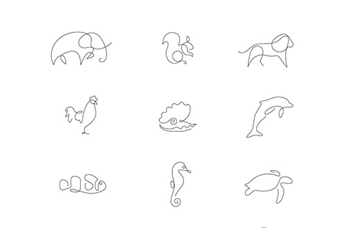 Single Line Drawings Of Animals : Differantly one line animals coultique